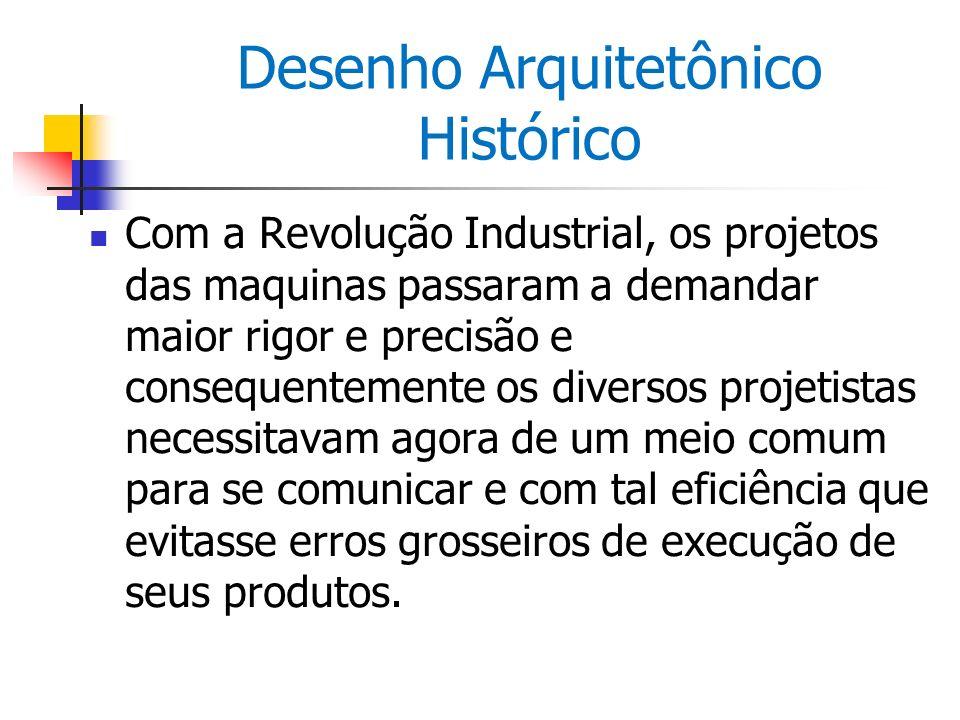 Desenho Arquitetônico Histórico Com a Revolução Industrial, os projetos das maquinas passaram a demandar maior rigor e precisão e consequentemente os