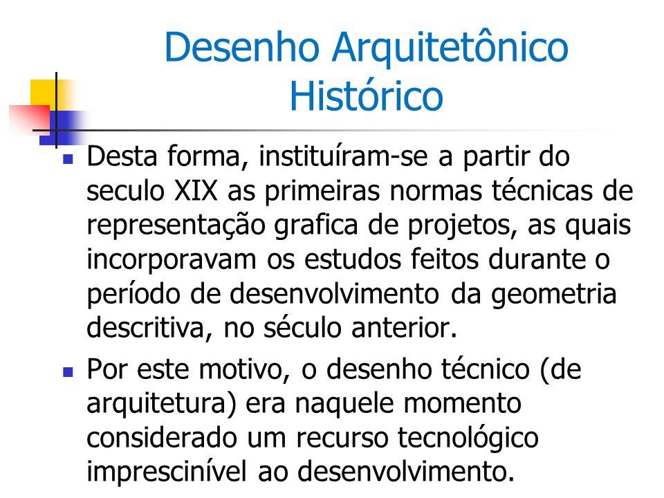 Desenho Arquitetônico Histórico A normatização hoje está mais avançada e completa, embora o desenho arquitetônico tenha passado a ser executado predominantemente em ambiente CAD (ou seja, em formato digital).