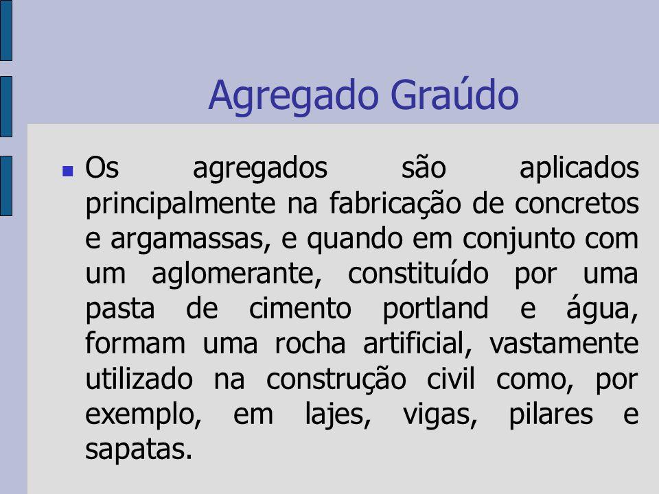 Agregado Graúdo Os agregados são classificados de acordo com as dimensões do grão.