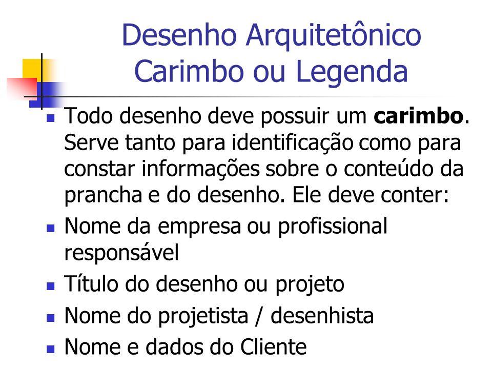 Desenho Arquitetônico Carimbo ou Legenda Todo desenho deve possuir um carimbo. Serve tanto para identificação como para constar informações sobre o co