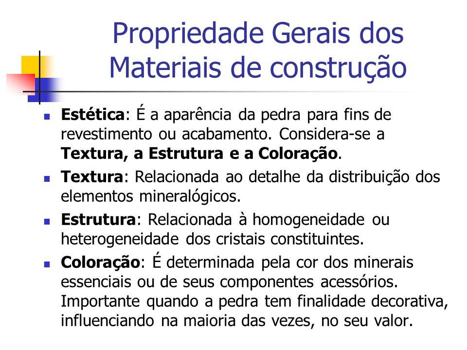 Estética: É a aparência da pedra para fins de revestimento ou acabamento. Considera-se a Textura, a Estrutura e a Coloração. Textura: Relacionada ao d