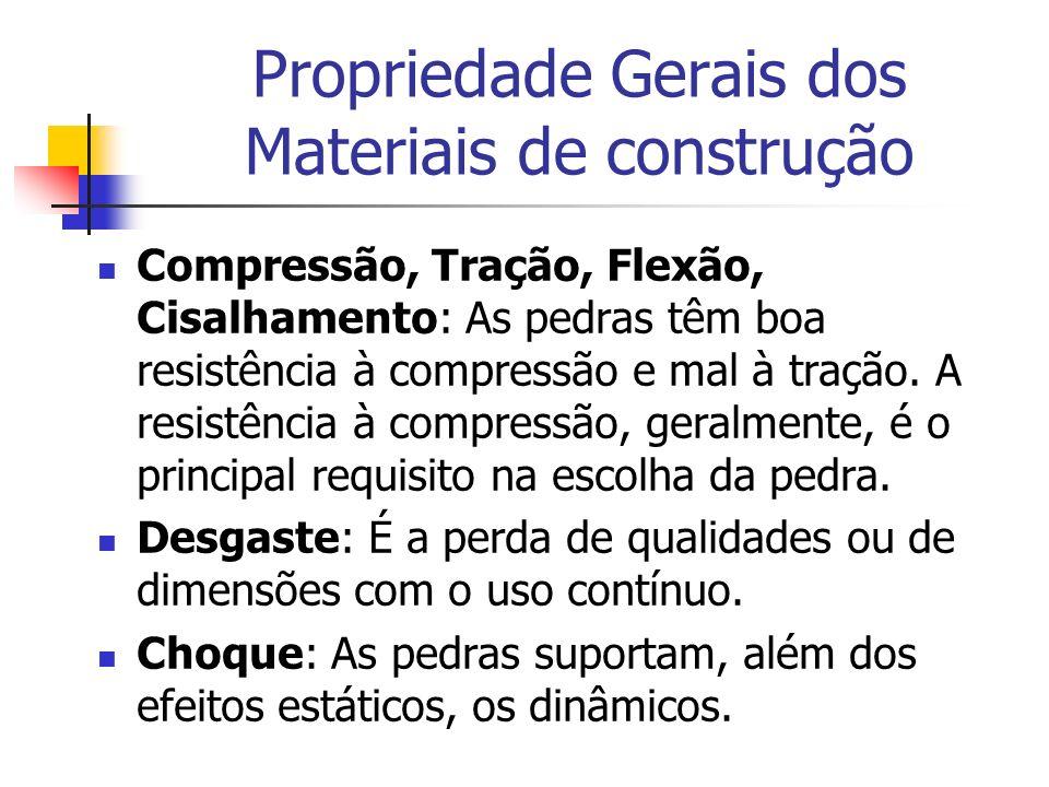 Propriedade Gerais dos Materiais de construção Compressão, Tração, Flexão, Cisalhamento: As pedras têm boa resistência à compressão e mal à tração. A