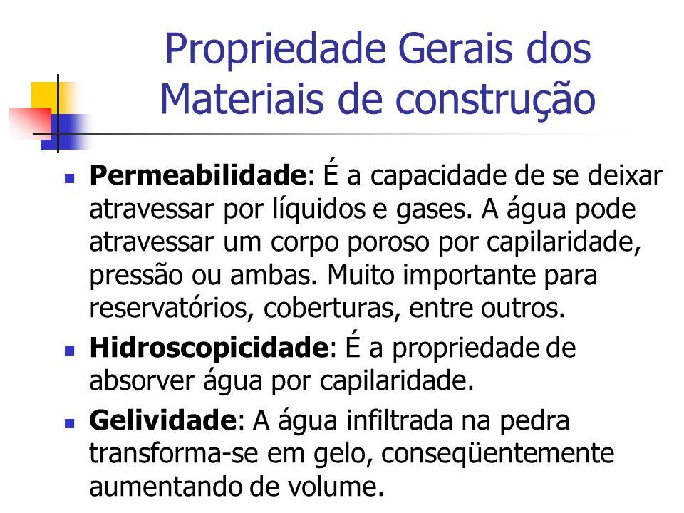Propriedade Gerais dos Materiais de construção Permeabilidade: É a capacidade de se deixar atravessar por líquidos e gases. A água pode atravessar um