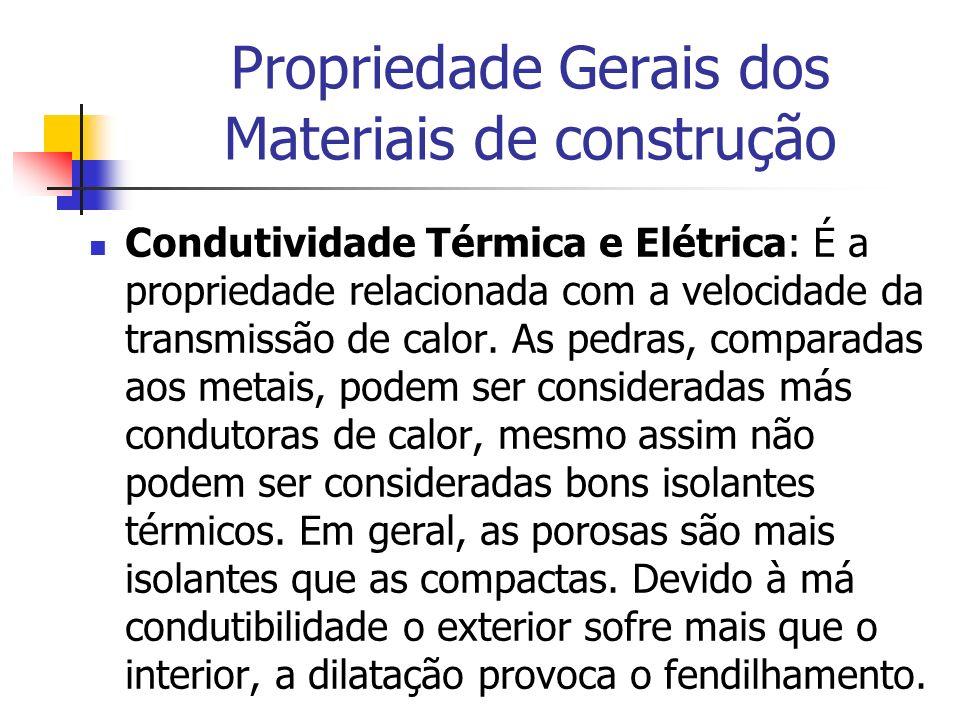Propriedade Gerais dos Materiais de construção Condutividade Térmica e Elétrica: É a propriedade relacionada com a velocidade da transmissão de calor.