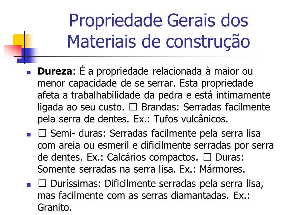 Propriedade Gerais dos Materiais de construção Dureza: É a propriedade relacionada à maior ou menor capacidade de se serrar. Esta propriedade afeta a
