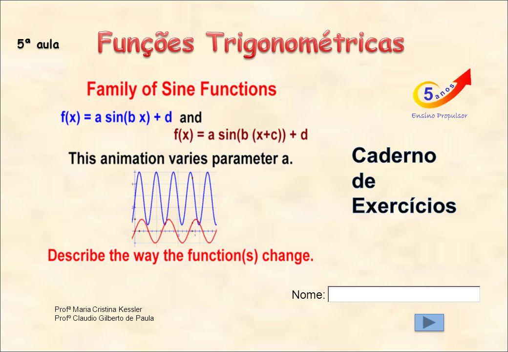 Marés Respiração Movimento bidimensional Fenômenos periódicos que podem ser representados por funções trigonométricas
