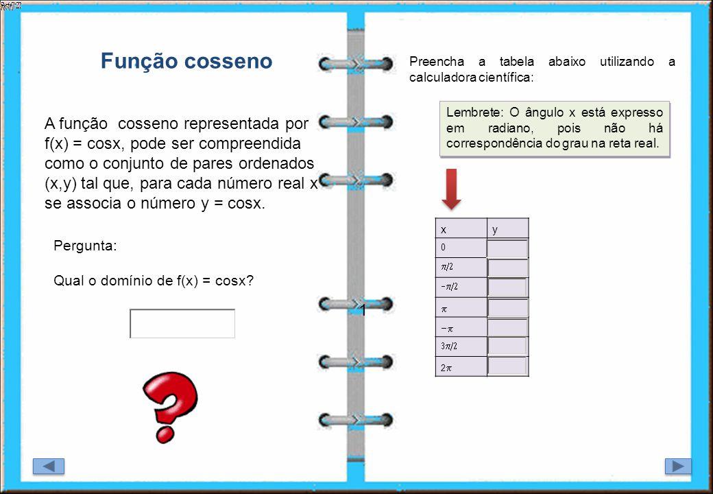 1 A função cosseno representada por f(x) = cosx, pode ser compreendida como o conjunto de pares ordenados (x,y) tal que, para cada número real x se as