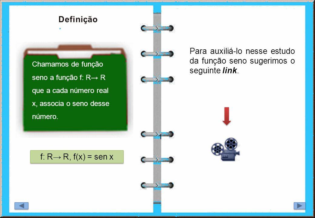 1 Para auxiliá-lo nesse estudo da função seno sugerimos o seguinte link. f: R R, f(x) = sen x Chamamos de função seno a função f: R R que a cada númer