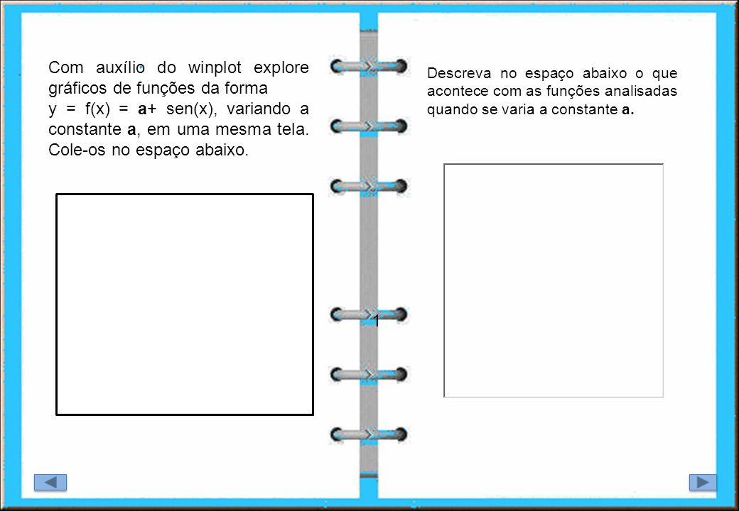 1 Com auxílio do winplot explore gráficos de funções da forma y = f(x) = a+ sen(x), variando a constante a, em uma mesma tela. Cole-os no espaço abaix
