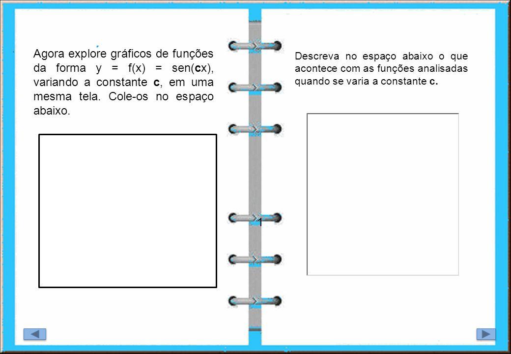 1 Agora explore gráficos de funções da forma y = f(x) = sen(cx), variando a constante c, em uma mesma tela. Cole-os no espaço abaixo. Qual o valor mín