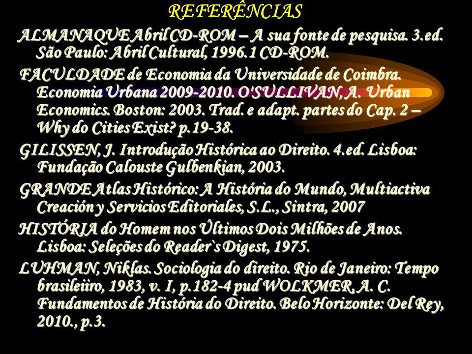 REFERÊNCIAS ALMANAQUE Abril CD-ROM – A sua fonte de pesquisa. 3.ed. São Paulo: Abril Cultural, 1996.1 CD-ROM. FACULDADE de Economia da Universidade de