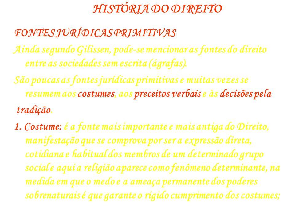 HISTÓRIA DO DIREITO FONTES JURÍDICAS PRIMITIVAS Ainda segundo Gilissen, pode-se mencionar as fontes do direito entre as sociedades sem escrita (ágrafa