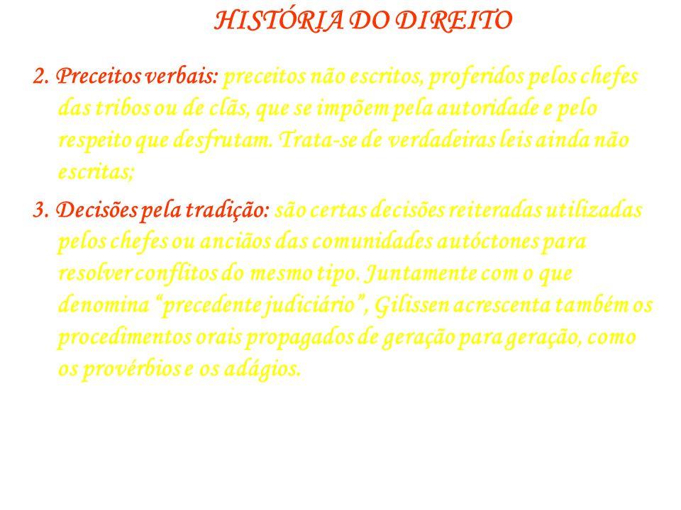 HISTÓRIA DO DIREITO 2. Preceitos verbais: preceitos não escritos, proferidos pelos chefes das tribos ou de clãs, que se impõem pela autoridade e pelo