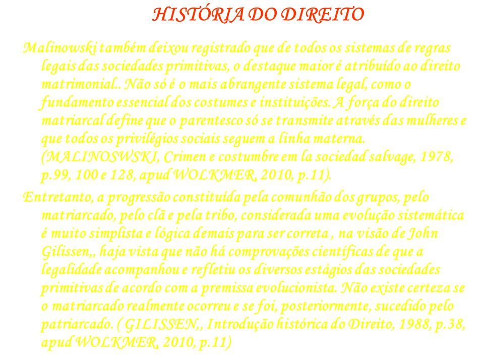 HISTÓRIA DO DIREITO Malinowski também deixou registrado que de todos os sistemas de regras legais das sociedades primitivas, o destaque maior é atribu