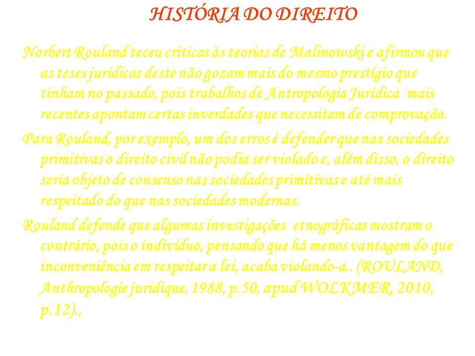 HISTÓRIA DO DIREITO Norbert Rouland teceu críticas às teorias de Malinowski e afirmou que as teses jurídicas deste não gozam mais do mesmo prestígio q