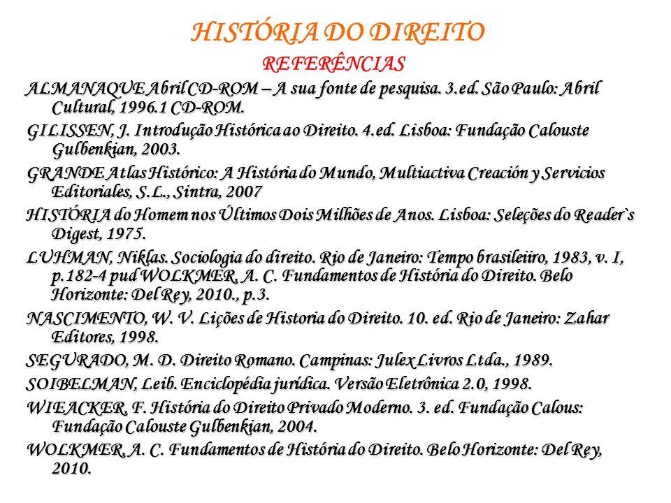 HISTÓRIA DO DIREITO REFERÊNCIAS ALMANAQUE Abril CD-ROM – A sua fonte de pesquisa. 3.ed. São Paulo: Abril Cultural, 1996.1 CD-ROM. GILISSEN, J. Introdu