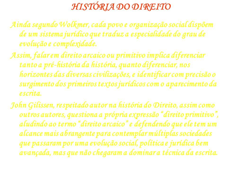 HISTÓRIA DO DIREITO FONTES JURÍDICAS PRIMITIVAS Ainda segundo Gilissen, pode-se mencionar as fontes do direito entre as sociedades sem escrita (ágrafas).