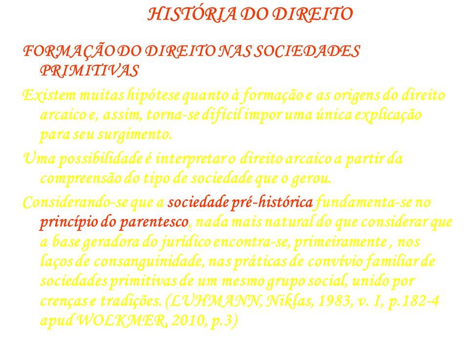 HISTÓRIA DO DIREITO FORMAÇÃO DO DIREITO NAS SOCIEDADES PRIMITIVAS Existem muitas hipótese quanto à formação e as origens do direito arcaico e, assim,