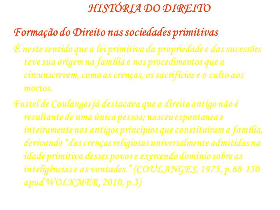 HISTÓRIA DO DIREITO Formação do Direito nas sociedades primitivas É neste sentido que a lei primitiva da propriedade e das sucessões teve sua origem n