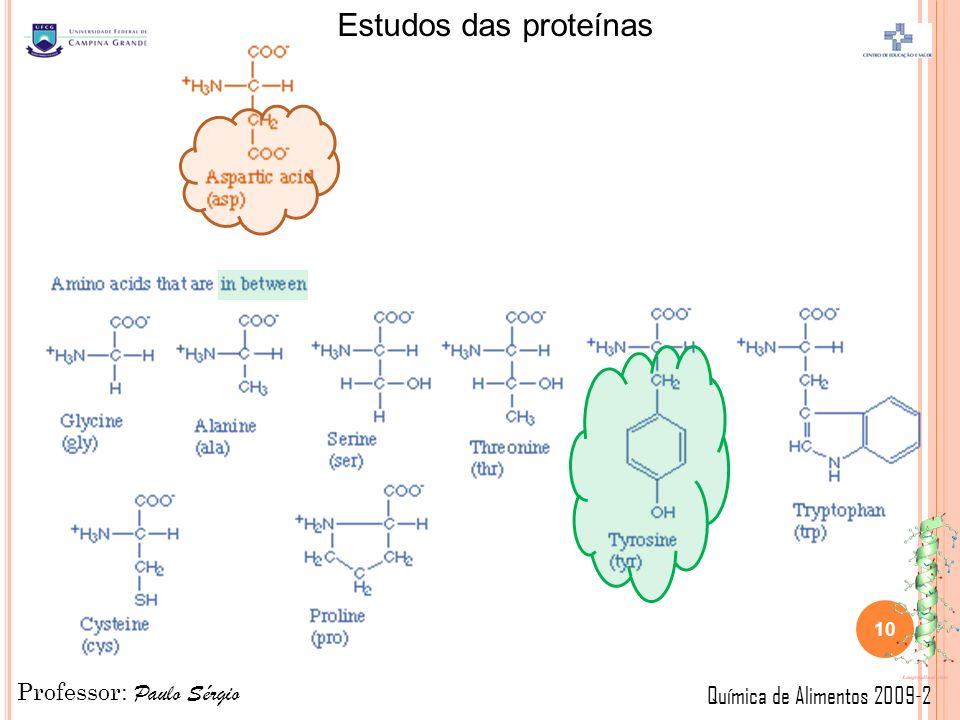 Professor: Paulo Sérgio Química de Alimentos 2009-2 Estudos das proteínas 10