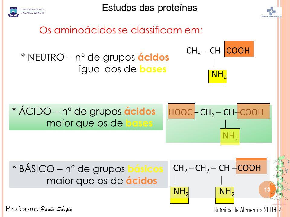 Professor: Paulo Sérgio Química de Alimentos 2009-2 Estudos das proteínas Os aminoácidos se classificam em: * NEUTRO – nº de grupos ácidos igual aos de bases * ÁCIDO – nº de grupos ácidos maior que os de bases HOOC – CH 2 CH COOH NH 2 CH 3 CH COOH NH 2 CH 2 – CH 2 CH COOH NH 2 * BÁSICO – nº de grupos básicos maior que os de ácidos 13