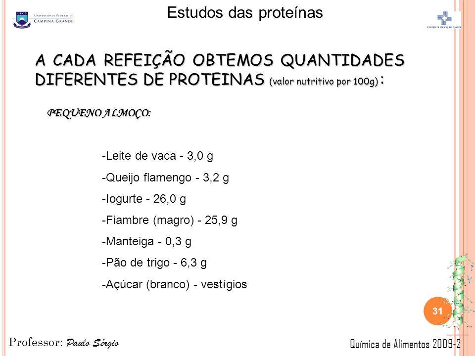Professor: Paulo Sérgio Química de Alimentos 2009-2 Estudos das proteínas 31 A CADA REFEIÇÃO OBTEMOS QUANTIDADES DIFERENTES DE PROTEINAS (valor nutritivo por 100g) : PEQUENO ALMOÇO: -Leite de vaca - 3,0 g -Queijo flamengo - 3,2 g -Iogurte - 26,0 g -Fiambre (magro) - 25,9 g -Manteiga - 0,3 g -Pão de trigo - 6,3 g -Açúcar (branco) - vestígios