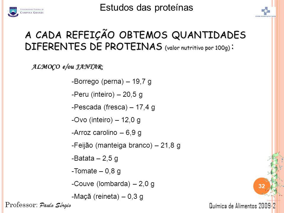 Professor: Paulo Sérgio Química de Alimentos 2009-2 Estudos das proteínas 32 A CADA REFEIÇÃO OBTEMOS QUANTIDADES DIFERENTES DE PROTEINAS (valor nutritivo por 100g) : ALMOÇO e/ou JANTAR: -Borrego (perna) – 19,7 g -Peru (inteiro) – 20,5 g -Pescada (fresca) – 17,4 g -Ovo (inteiro) – 12,0 g -Arroz carolino – 6,9 g -Feijão (manteiga branco) – 21,8 g -Batata – 2,5 g -Tomate – 0,8 g -Couve (lombarda) – 2,0 g -Maçã (reineta) – 0,3 g