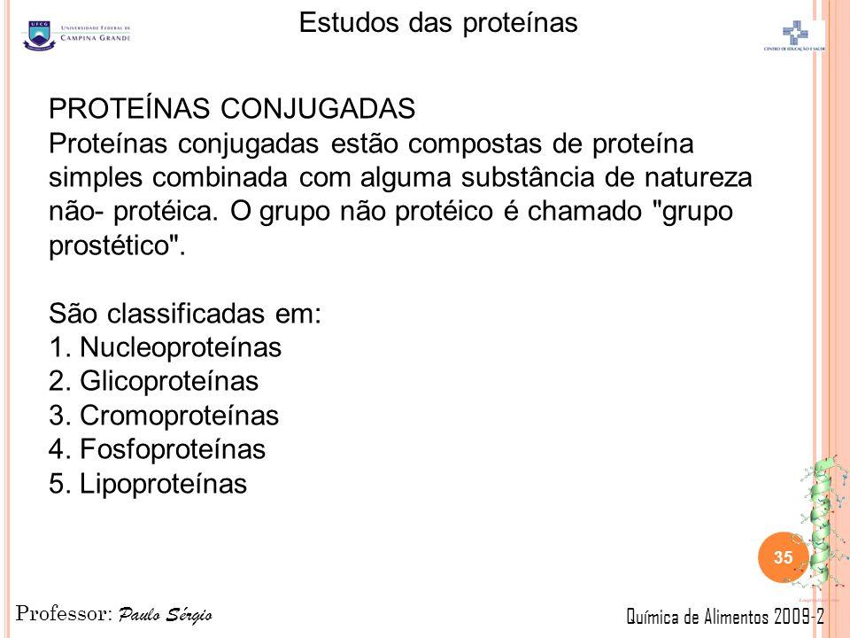 Professor: Paulo Sérgio Química de Alimentos 2009-2 Estudos das proteínas 35 PROTEÍNAS CONJUGADAS Proteínas conjugadas estão compostas de proteína simples combinada com alguma substância de natureza não- protéica.
