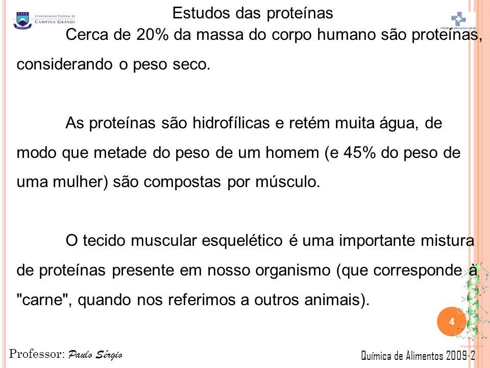 Professor: Paulo Sérgio Química de Alimentos 2009-2 Estudos das proteínas Cerca de 20% da massa do corpo humano são proteínas, considerando o peso seco.