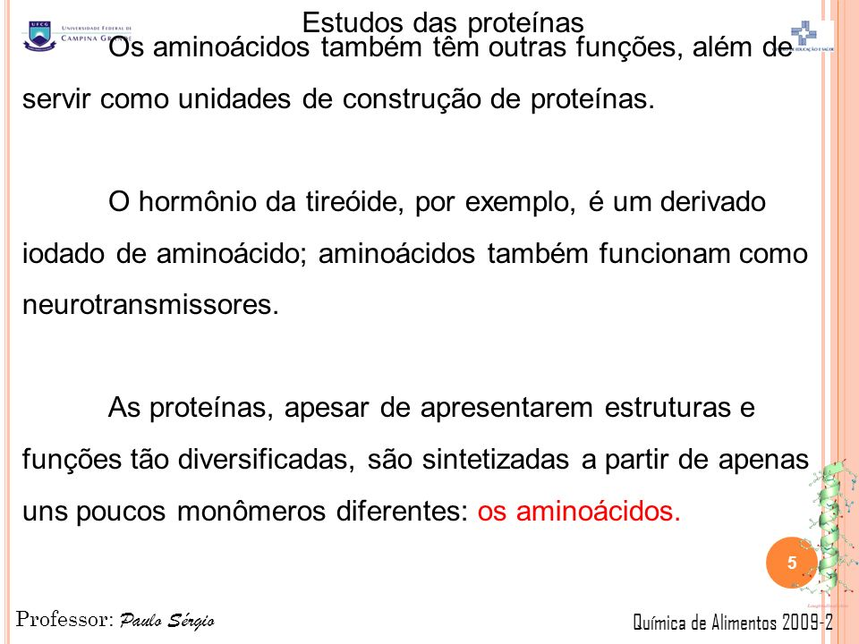 Professor: Paulo Sérgio Química de Alimentos 2009-2 Estudos das proteínas Os aminoácidos também têm outras funções, além de servir como unidades de construção de proteínas.