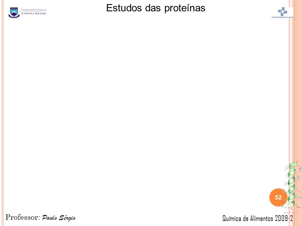 Professor: Paulo Sérgio Química de Alimentos 2009-2 Estudos das proteínas 52