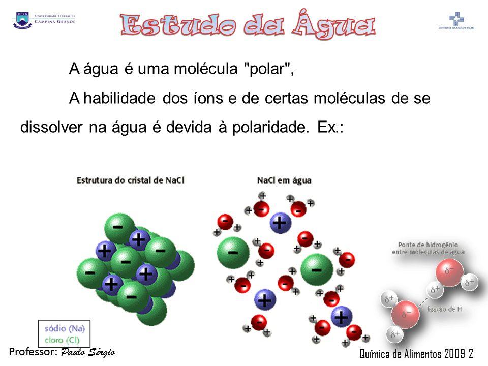 Professor: Paulo Sérgio Química de Alimentos 2009-2 Professor: Paulo Sérgio Química de Alimentos 2009-2 A água é uma molécula