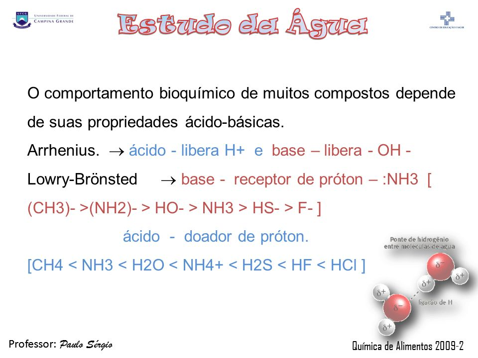 Professor: Paulo Sérgio Química de Alimentos 2009-2 Professor: Paulo Sérgio Química de Alimentos 2009-2 O comportamento bioquímico de muitos compostos