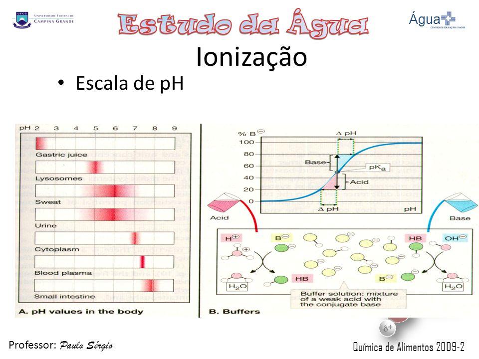 Professor: Paulo Sérgio Química de Alimentos 2009-2 Ionização Escala de pH Água