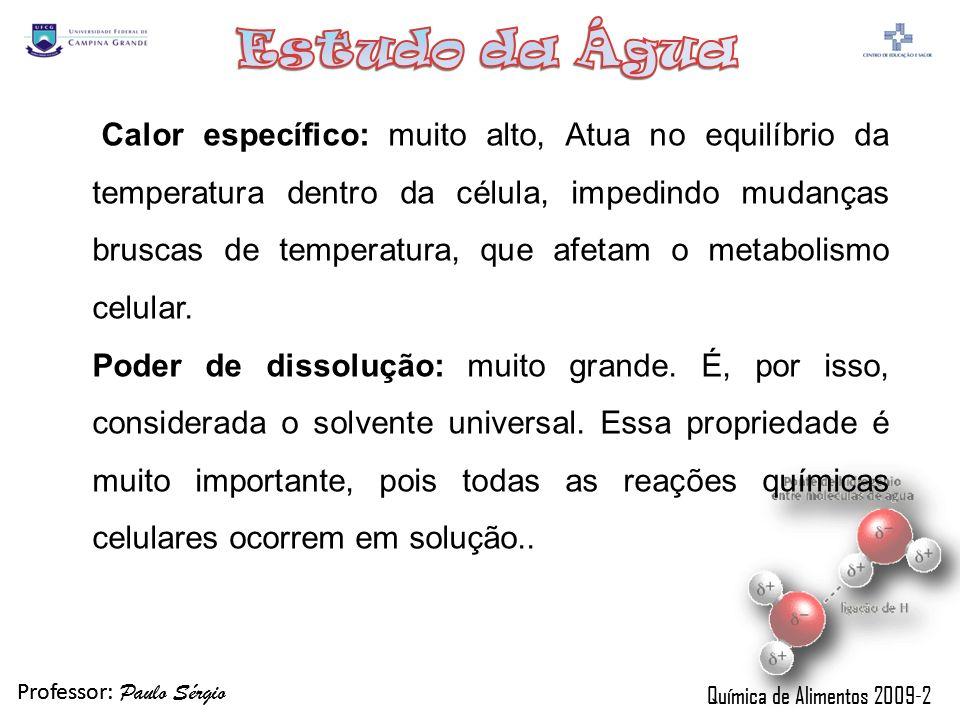 Professor: Paulo Sérgio Química de Alimentos 2009-2 Interação com solutos Anfipáticos Propriedades Água