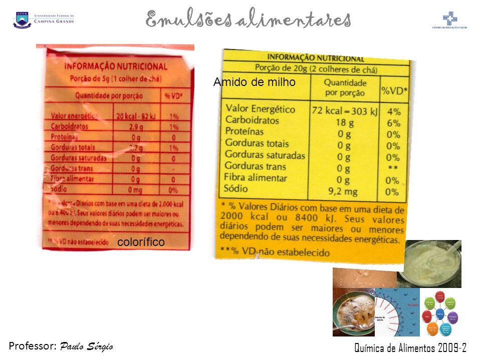 Professor: Paulo Sérgio Química de Alimentos 2009-2 Emulsões alimentares colorífico Amido de milho