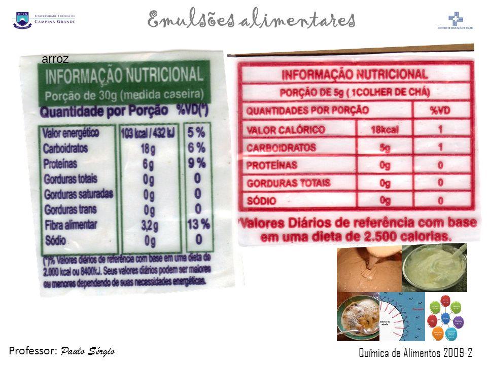 Professor: Paulo Sérgio Química de Alimentos 2009-2 Emulsões alimentares arroz