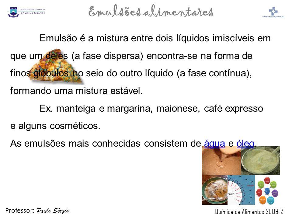 Professor: Paulo Sérgio Química de Alimentos 2009-2 Emulsões alimentares Principais Espessantes Gomas de sementes: goma guar, goma,jataí; Derivados de celulose: celulose microcristalina; carboximetilcelulose sódica (cmc) Amidos: amilose, amilopectina; Goma microbiana: xantana, gelana; Ex.