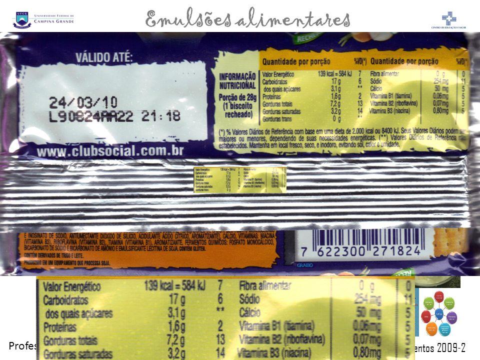 Professor: Paulo Sérgio Química de Alimentos 2009-2 Emulsões alimentares