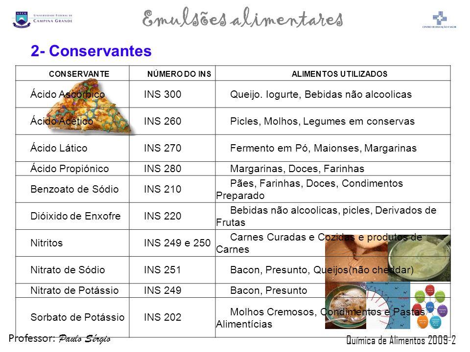 Professor: Paulo Sérgio Química de Alimentos 2009-2 Emulsões alimentares CONSERVANTENÚMERO DO INSALIMENTOS UTILIZADOS Ácido AscórbicoINS 300Queijo. Io