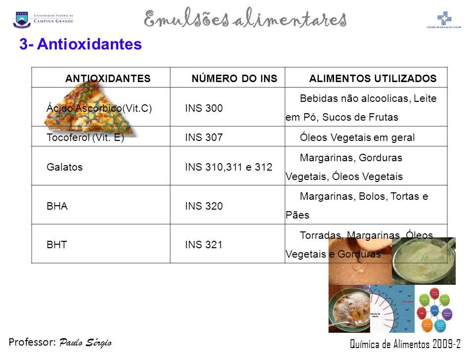 Professor: Paulo Sérgio Química de Alimentos 2009-2 Emulsões alimentares ANTIOXIDANTESNÚMERO DO INSALIMENTOS UTILIZADOS Ácido Ascórbico(Vit.C)INS 300