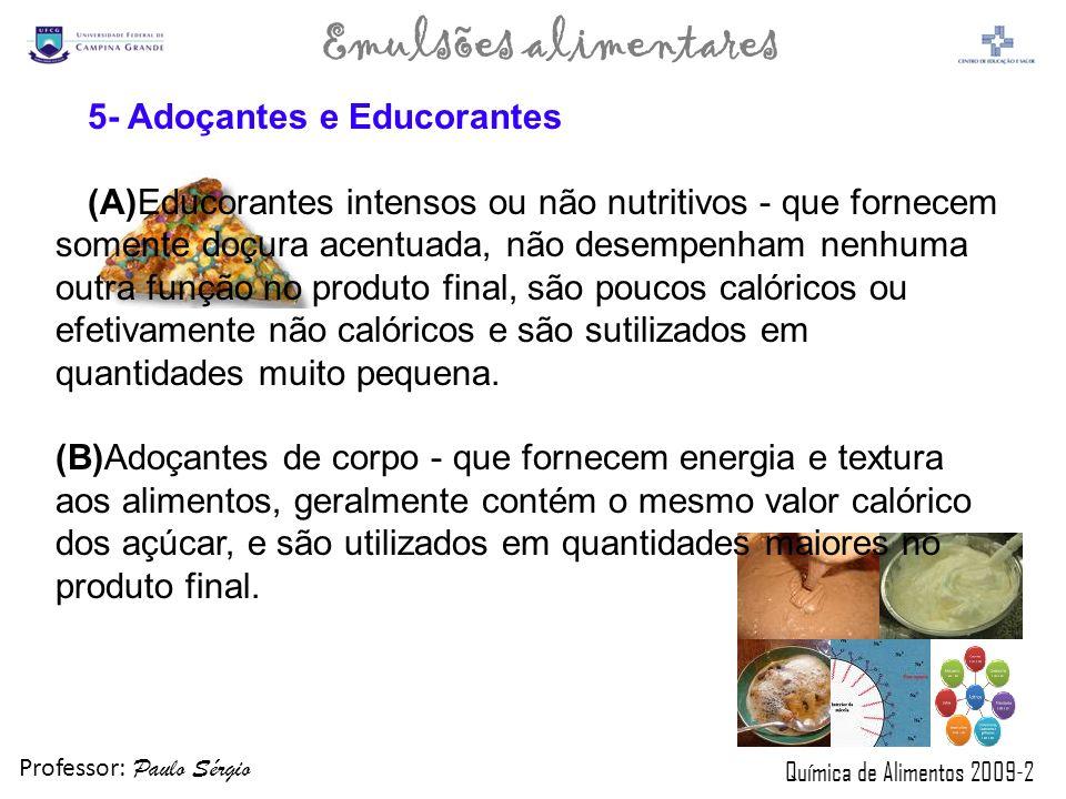 Professor: Paulo Sérgio Química de Alimentos 2009-2 Emulsões alimentares 5- Adoçantes e Educorantes (A)Educorantes intensos ou não nutritivos - que fo