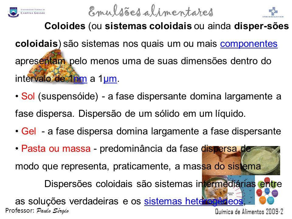 Professor: Paulo Sérgio Química de Alimentos 2009-2 Emulsões alimentares TIPO DE CORANTENÚMERO DO INSALIMENTOS UTILIZADOS AmareloINS 101 iQueijos processados VerdeINS 140 iGorduras, óleos, vegetais enlatados PretoINS 153Geléias, Gelatinas Amarelo laranjaINS 160 iiMargarinas, Bolos AmareloINS 102Bebidas não-alcoolicas AmareloINS 110Bebidas de Laranja(liquida ou pó) VermelhoINS 123 Produtos de Groselha, Bebidas de Morango, Uva VermelhoINS 127Cerejas em Caldas AzulINS 132Gelatinas, Molho, Refrescos de Uva VerdeINS 143 Ervilhas enlatadas, Flan, Geléias e Gelatinas 1- Corantes Sint é ticos e Naturais