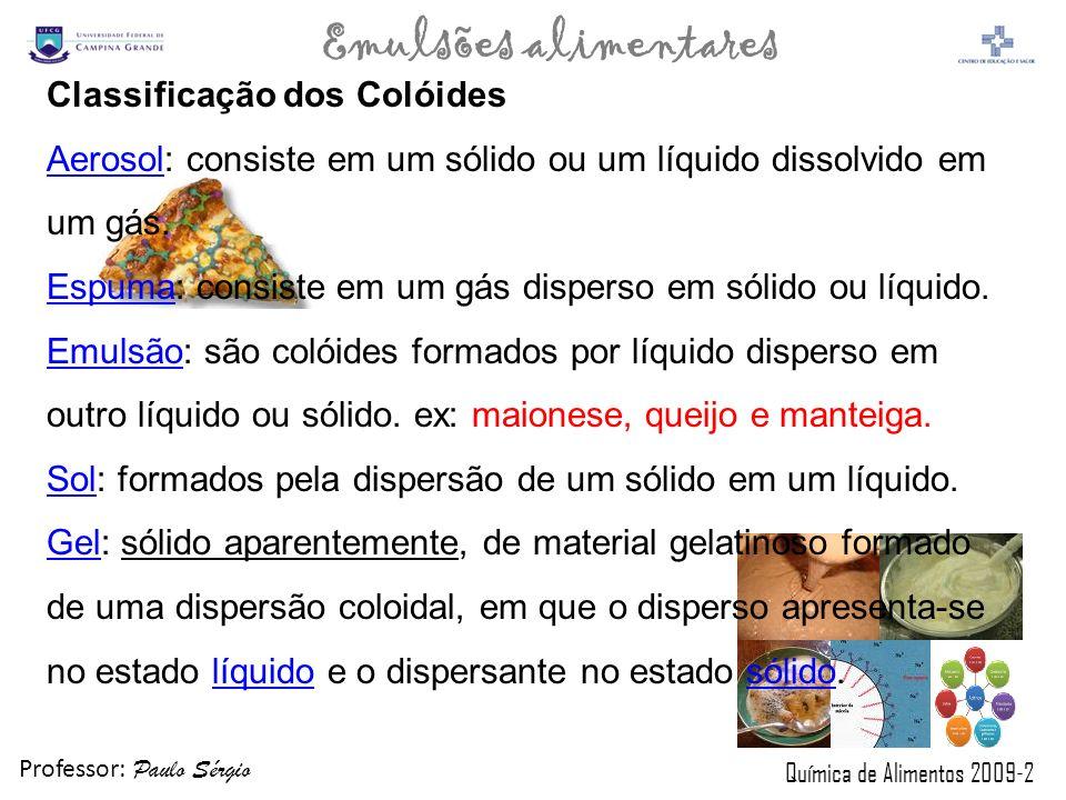 Professor: Paulo Sérgio Química de Alimentos 2009-2 Emulsões alimentares Classificação dos Colóides AerosolAerosol: consiste em um sólido ou um líquid