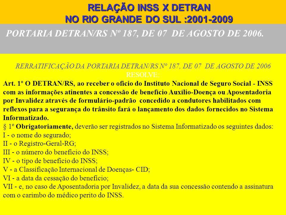 PORTARIA DETRAN/RS Nº 187, DE 07 DE AGOSTO DE 2006. RELAÇÃO INSS X DETRAN NO RIO GRANDE DO SUL :2001-2009 RERRATIFICAÇÃO DA PORTARIA DETRAN/RS Nº 187,