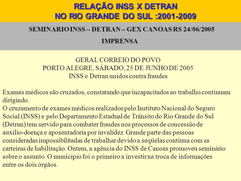 SEMINARIO INSS – DETRAN – GEX CANOAS RS 24/06/2005 IMPRENSA RELAÇÃO INSS X DETRAN NO RIO GRANDE DO SUL :2001-2009 GERAL CORREIO DO POVO PORTO ALEGRE,