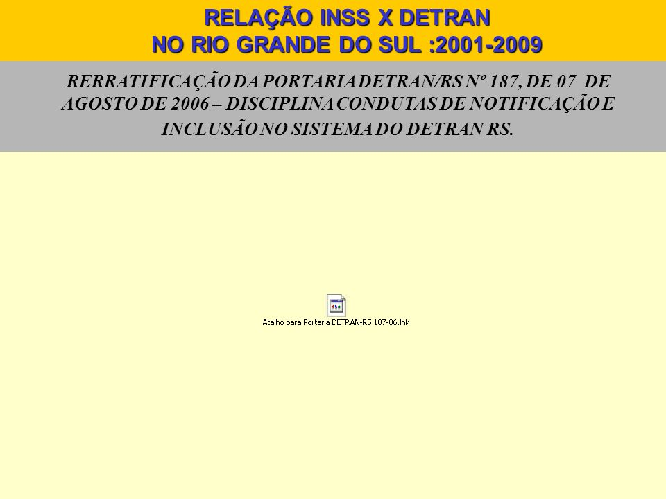 RERRATIFICAÇÃO DA PORTARIA DETRAN/RS Nº 187, DE 07 DE AGOSTO DE 2006 – DISCIPLINA CONDUTAS DE NOTIFICAÇÃO E INCLUSÃO NO SISTEMA DO DETRAN RS. RELAÇÃO