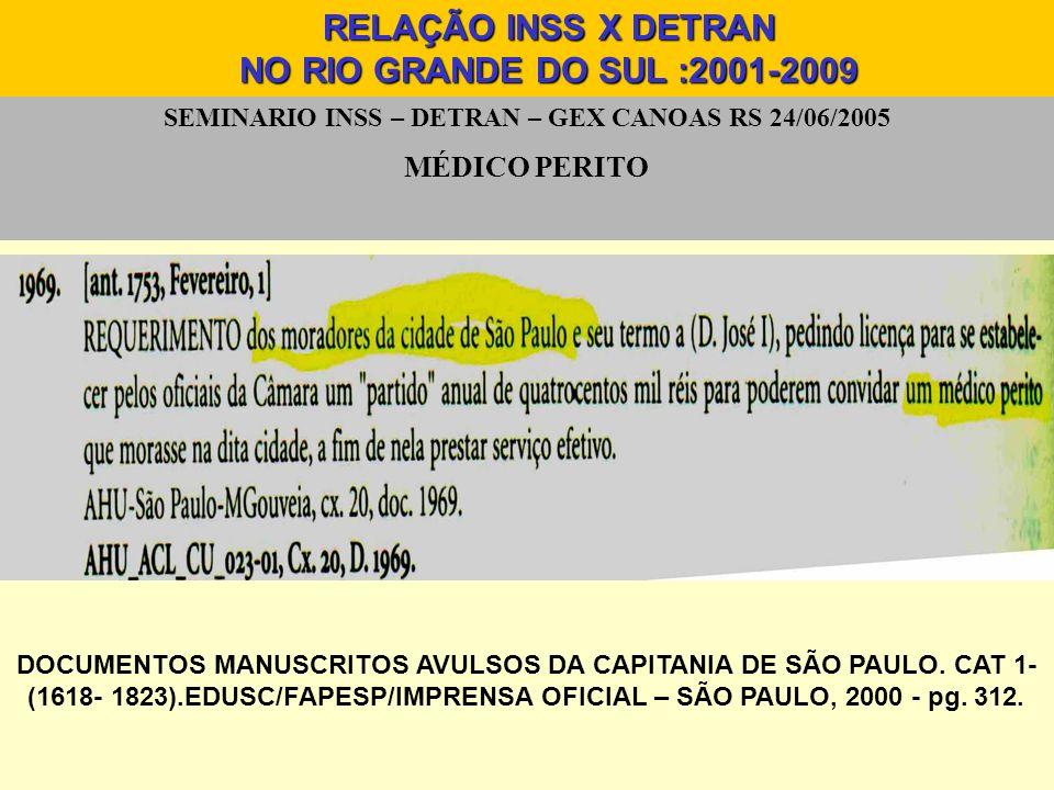 SEMINARIO INSS – DETRAN – GEX CANOAS RS 24/06/2005 Resultado notificações RELAÇÃO INSS X DETRAN NO RIO GRANDE DO SUL :2001-2009 DE 2004 A ABRIL DE 2009 DETRAN RS X INSS Beneficios incluídos no sistema:28031 CNHs recolhidas:24637 Exames Médicos realizados:25880 Reavaliação INSS com emissão de nova CNH:11601 N0.