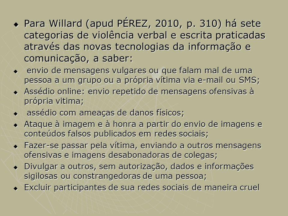 Para Willard (apud PÉREZ, 2010, p. 310) há sete categorias de violência verbal e escrita praticadas através das novas tecnologias da informação e comu