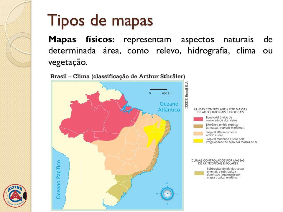 Tipos de mapas Mapas econômicos: representam a distribuição de riquezas de determinado lugar, como a localização de recursos minerais, das indústrias, da produção agropecuária e etc.